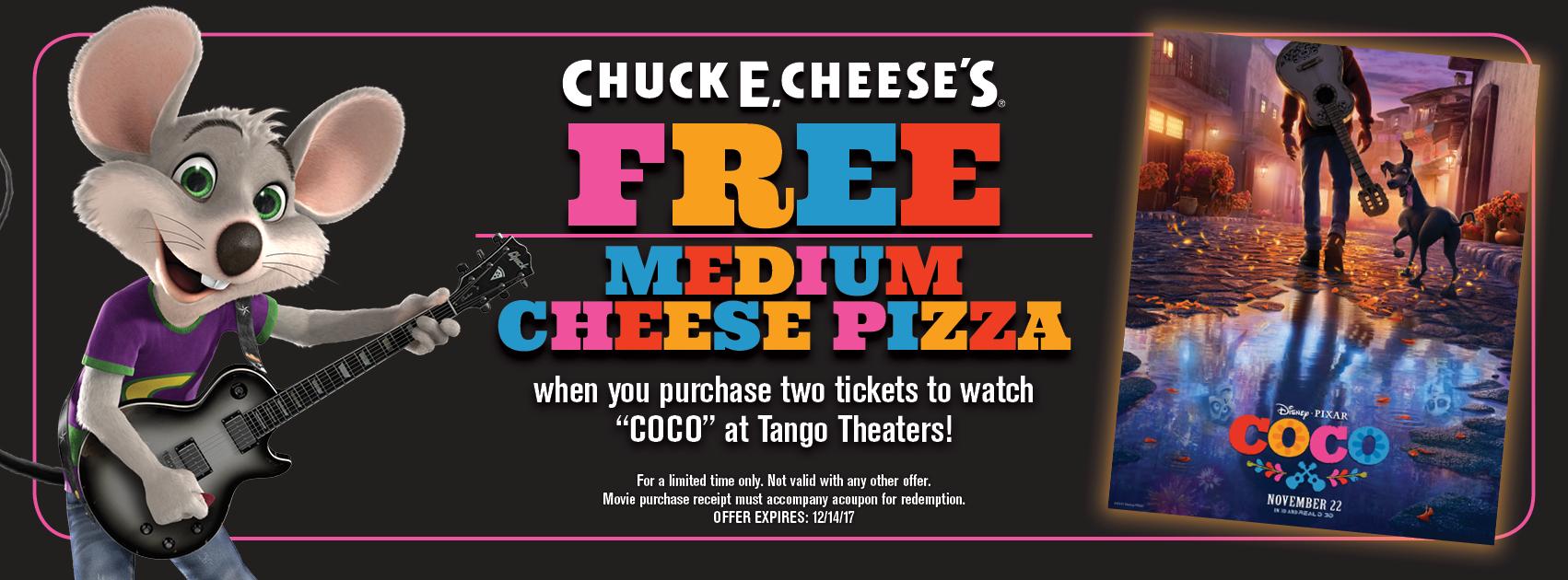Chuck E. Cheese's Free Medium Cheese Pizza CoCo